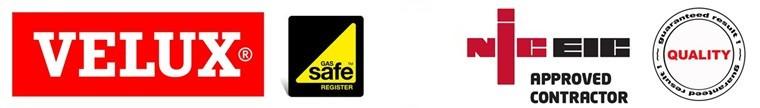 Gas Safe Registred, NIC EIC, Trust Mark, Velux